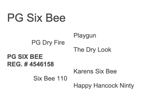 PG Six Bee Pedigree
